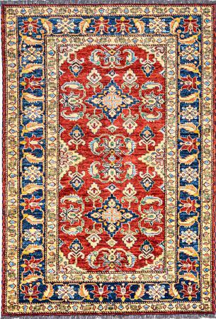 "Hand Made Afghanistan Super Kazak 4'2"" x 5'11"" Red Rug"