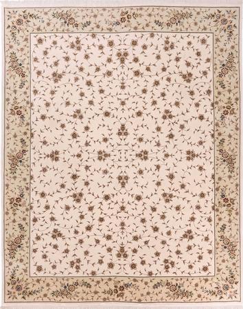Hand Knotted China Tabriz 8' x 10' White Rug