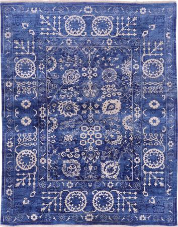 Hand Knotted India Tabriz 8' x 10' Blue DK Rug