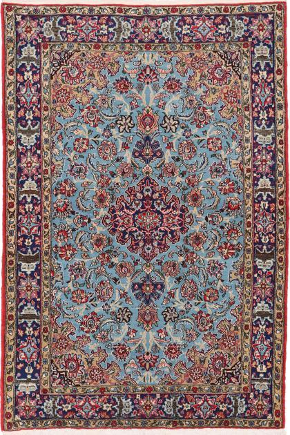 "Hand Knotted Iran Qum 4'8"" x 7' Blue LT"