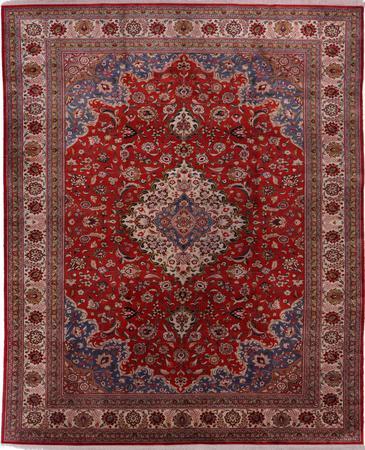 """Hand Knotted Iran Qum 6'6"""" x 9'9"""" Orange LT"""