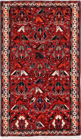 """Hand Knotted Iran Bakhtiari 5'4"""" x 9'9"""" Red"""