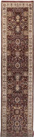 "Hand Made India Agra 2'5"" x 11'10"" Red Rug"