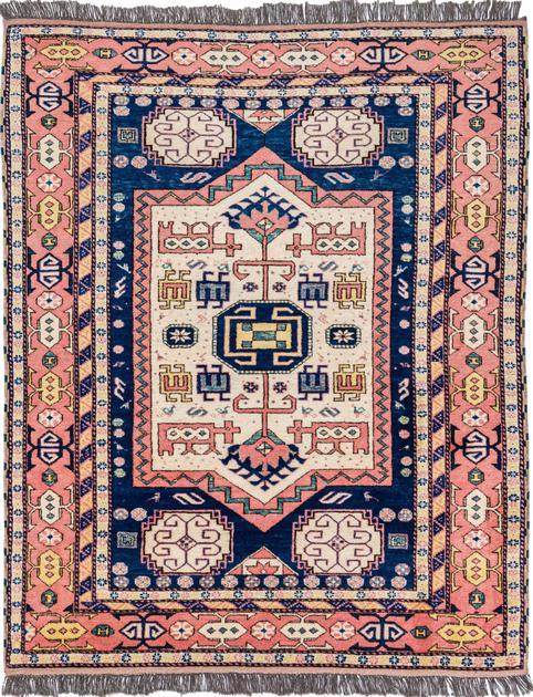 """Hand Made Turkey Kazak 5' x 6'2"""" Blue"""