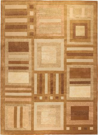 "Hand Made India Contemporary 10' x 13'11"" Brown Rug"