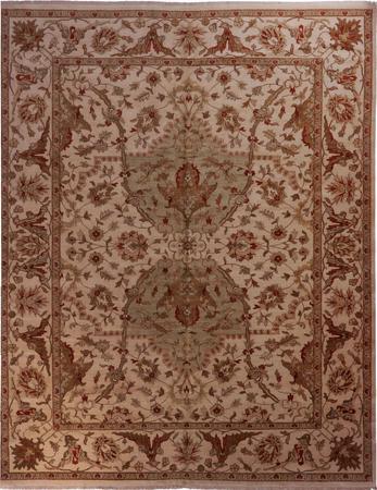 "Hand Made India Kashan 11'11"" x 14'11"" Ivory Rug"