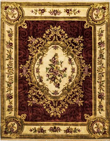 """Hand Made India Aubusson 8' x 9'10"""" Red DK Rug"""