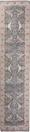 """Hand Made India Oushak 2'8"""" x 11'11"""" Blue Rug"""