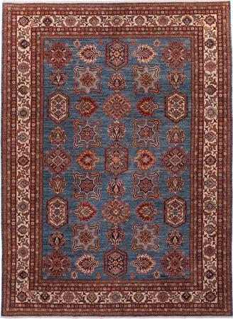 "Hand Made Pakistan Super Kazak 9' x 12'2"" Blue Rug"