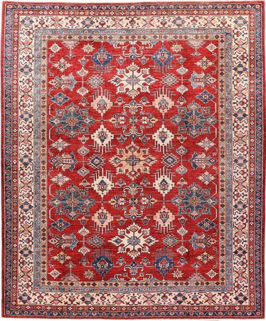 "Hand Made Pakistan Super Kazak 8'2"" x 9'9"" Red Rug"