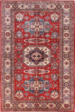 "Hand Made Pakistan Super Kazak 6'9"" x 10' Red DK Rug"