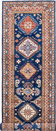 "Hand Made Afghanistan Super Kazak 2'6"" x 10'4"" Blue DK Rug"