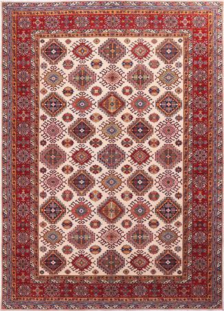 "Hand Made Afghanistan Super Kazak 9' x 12'5"" Ivory Rug"
