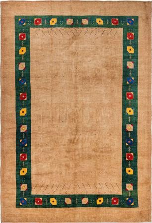 """Hand Knotted Iran Gabbeh 8' x 11'9"""" Gold Rug"""