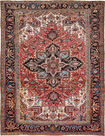 "Hand Made Iran Heriz 8'9"" x 10'9"" Red Rug"
