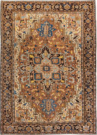 "Hand Made Iran Heriz 8'4"" x 11'5"" Brown LT Rug"