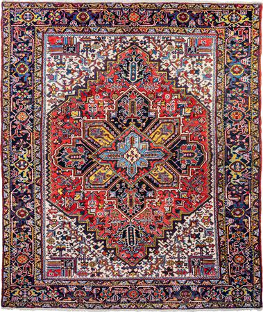 "Hand Made Iran Heriz 8'2"" x 10' Red Rug"