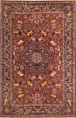 """Hand Knotted Iran Tabriz 5'11"""" x 9'2"""" Orange DK Rug"""