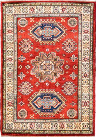 "Hand Made Afghanistan Kazak 3'4"" x 4'8"" Red Rug"