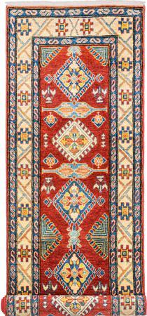 "Hand Made Afghanistan Kazak 2'7"" x 8'11"" Red Rug"