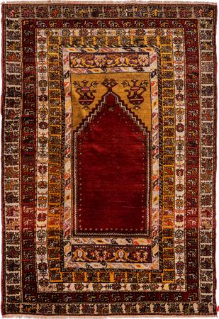 """Hand Made Afghanistan Oushak 4'4"""" x 6'5"""" Burgundy Rug"""