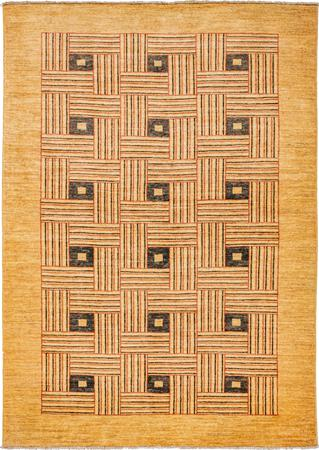 """Hand Made Afghanistan Gabbeh 4'9"""" x 6'8"""" Gold Rug"""