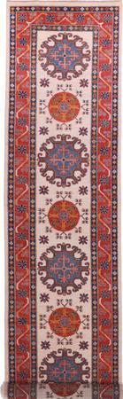 "Hand Made Afghanistan Kazak 2'7"" x 13'4"" Ivory"