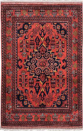 """Hand Made Afghanistan Balouch 3'4"""" x 4'10"""" Red DK Rug"""