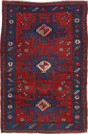"""Hand Made Russia Kazak 4' x 6'3"""" Red"""