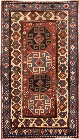 """Hand Made Russia Kazak 3'7"""" x 6'3"""" Rust"""
