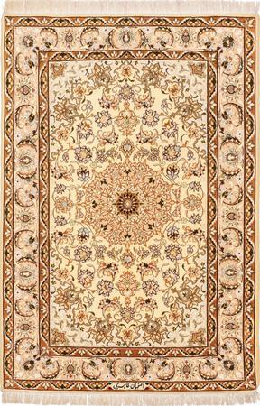 """Hand Knotted Iran Isfahan 3'6"""" x 5'3"""" Tan Rug"""