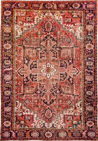 "Hand Made Iran Heriz 7'10"" x 11' Red Rug"