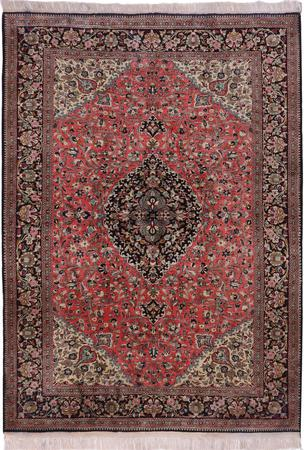 Hand Knotted Iran Qum 4'6''x7' Red LT