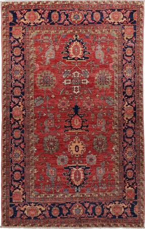 """Hand Knotted Pakistan Aryana 4' x 6'6"""" Red"""