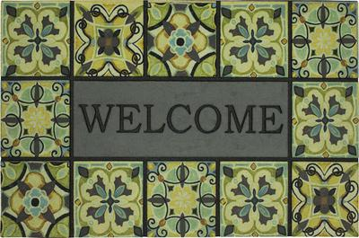 Mohawk Doorscapes Estate Mat Welcome Bohemian Tiles Green
