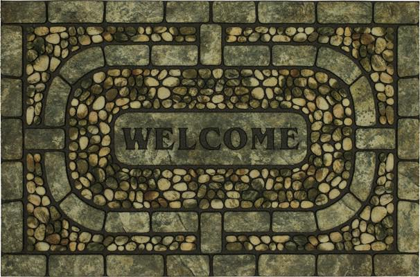 Mohawk Doorscapes Estate Mat Welcome Garden Pebbles Gray Green