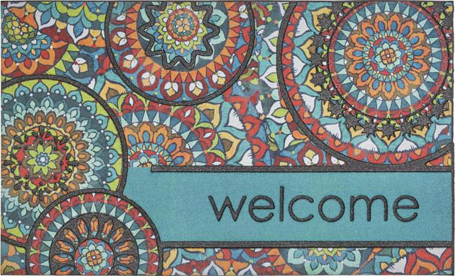Mohawk Doorscapes Mat Welcome Bohemian Kingdom Blue/Navy