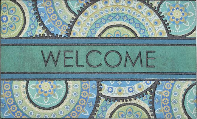 Mohawk Doorscapes Mat Fiesta Welcome Peacock Medallion